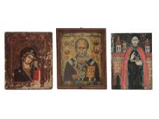 A SET OF THREE ANTIQUE ORTHODOX ICONS