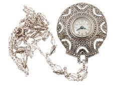 AN ANTIQUE STERLING SILVER CROTON WATCH PENDANT