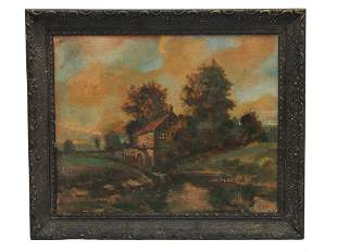AN ANTIQUE DUTCH SCHOOL OIL ON CANVAS PAINTING