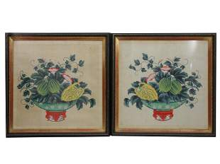 A PAIR OF VINTAGE CHINESE WATERCOLOR PAINTINGS