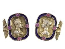 A PAIR OF ANTIQUE RUSSIAN GILTSILVER CUFFLINKS