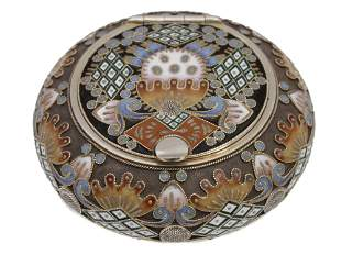 AN ANTIQUE RUSSIAN GILT-SILVER AND ENAMEL BOX