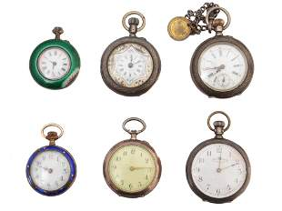 AN ANTIQUE POCKET WATCHES WALTHAM LOUIS JACOT