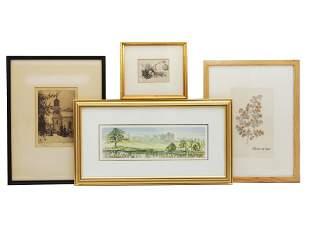 A LOT OF FOUR VINTAGE FRAMED ARTWORKS