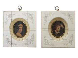 A PAIR OF ANTIQUE MINIATURES IN THE FRAMES