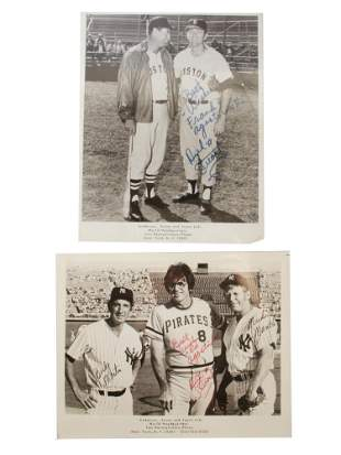 A VINTAGE SIGNED PHOTO OF FAMOUS BASEBALL PLAYERS