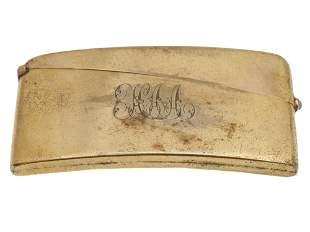 AN ANTIQUE 9K ROLLED GOLD MATCH HOLDER