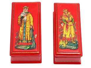 A TWO RUSSIAN VINTAGE WOODEN LACQUERED BOXES
