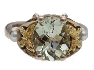 A WOMEN 925 SILVER AND 18K GOLD RING WITH CRYSTAL