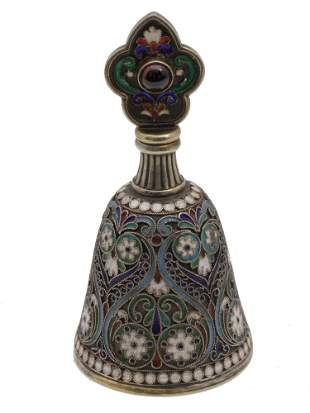 A RUSSIAN SILVER AND ENAMEL PERFUME BOTTLE