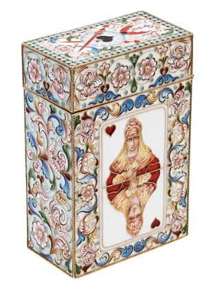 A RUSSIAN SILVER ENAMELLED CARD CASE