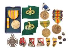 A LOT OF VINTAGE MEDALS AND PINS 17 PIECES