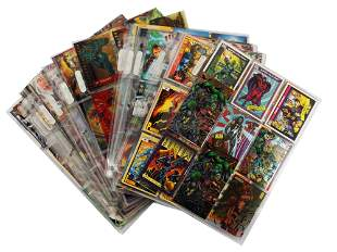 A LARGE LOT OF VINTAGE SUPERHEROES CARD AND OTHER