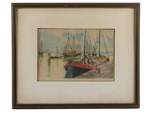 AN AUSTRIAN COLOR ETCHING ON PAPER BY HANS FIGURA