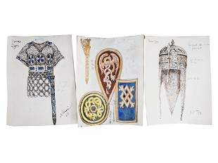 A LOT OF BENOIS RUSSIAN COSTUME DESIGNS PAINTINGS