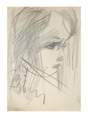 A RUSSIAN CHARCOAL PAINTING BY ANATOLY ZVEREV