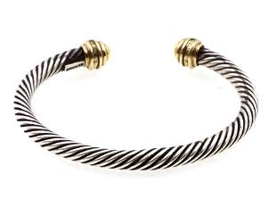 A DAVID YURMAN SILVER GOLD DIAMONDS BRACELET
