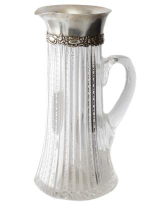AN ANTIQUE RUSSIAN SILVER CRYSTAL PITCHER