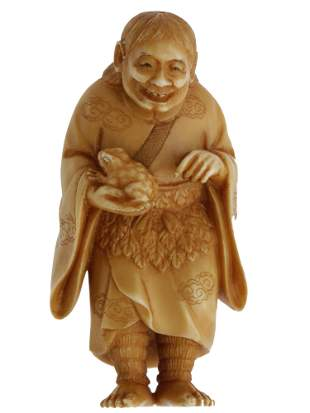 AN ANTIQUE JAPANESE NETSUKE GAMA SENNIN 19TH C.