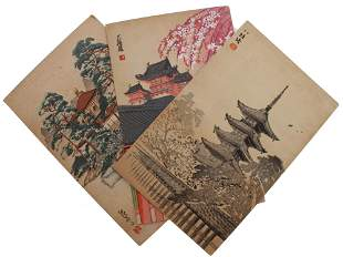 A LOT OF THREE ANTIQUE JAPANESE WATERCOLORS