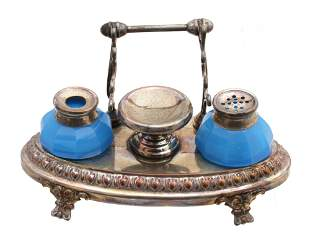 AN ANTIQUE FRENCH INKWELL DESK SET