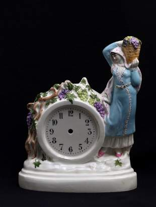 A RARE EARLY SOVIET PORCELAIN CLOCK CASE BY DANKO