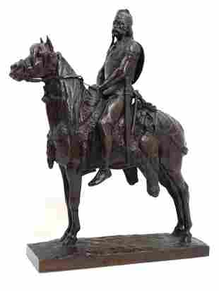 AN E. FREMIET, BARBEDIENNE BRONZE OF CHEF GAULOIS