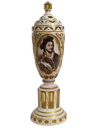 ANTIQUE BOHEMIAN OVERLAID GLASS VASE PORTRAIT MAN