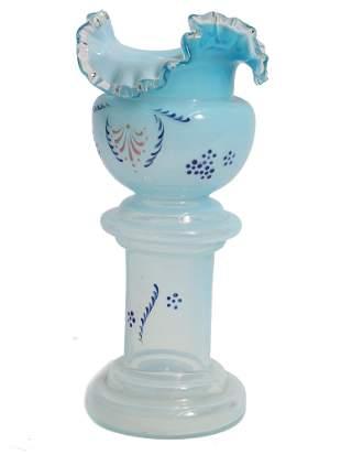 A VINTAGE LIGHT BLUE GLASS VASE RUFFLED TOP EDGE
