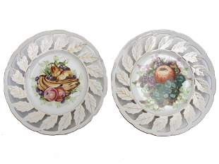 A PAIR OF VINTAGE PORCELAIN HAND-PAINTED PLATES