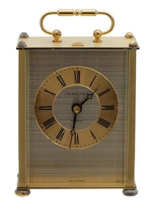 GERMAN HAMILTON QUARTZ BRASS CARRIAGE DESK CLOCK