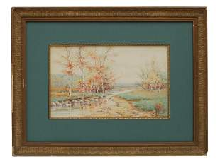 A WATERCOLOR ON PAPER PAINTING SIGNED B.M. MILLER