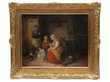 BELGIAN OIL PAINTING ON CANVAS BY J E GROVER 1838
