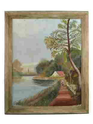 AN OIL ON CANVAS PAINTING, SIGNED S.V. BECKER