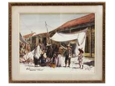 A VINTAGE SIGNED AMERICAN WATERCOLOR PAINTING