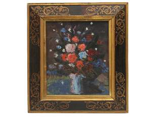 A VINTAGE OIL ON BOARD STILL LIFE PAINTING