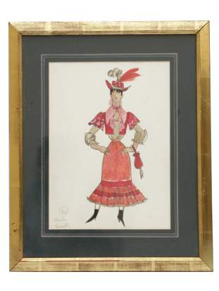 A VINTAGE WATERCOLOR ON PAPER COSTUME SKETCH