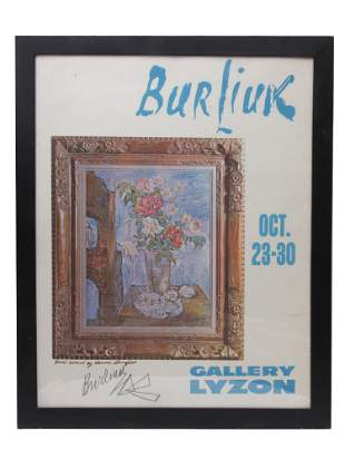 A RUSSIAN SIGNED EXHIBITION POSTER BY BURLIUK