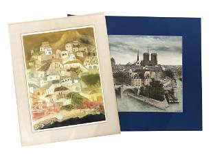 LOT OF TWO LITHOGRAPHS ON PAPER CITY VIEWS PARIS