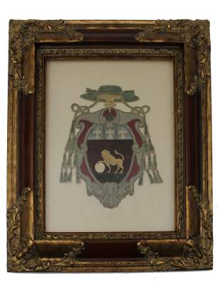 ANTIQUE FRENCH COAT OF ARMS EMBROIDERY ON FABRIC