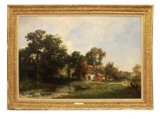 FRENCH OIL LANDSCAPE PAINTING ON CANVAS BY DUPRE