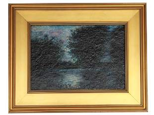 A R.A. BLAKELOCK AMERICAN OIL ON BOARD PAINTING