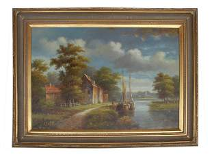 AN ANTIQUE OIL LANDSCAPE BOATS PAINTING ON CANVAS