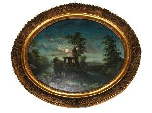 AN ANTIQUE FRENCH REVERSE GLASS PAINTING 19TH CEN