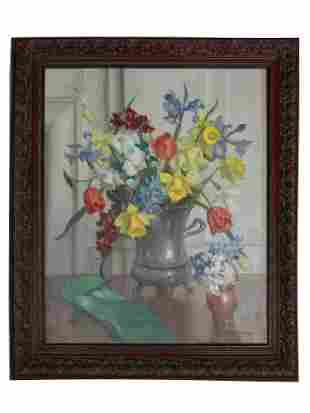 AMERICAN OIL PAINTING ON CANVAS FLOWER BY PEARSON