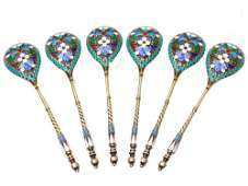 A 6 RUSSIAN GILDED SILVER ENAMELED SERVING SPOON