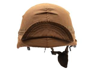 A SOUTH AFRICAN MILITARY HELMET, M87 (WITH COVER)