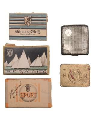 A LOT OF 5 VINTAGE GERMAN CIGARETTE BOXES