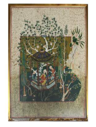 PERSIAN COLOR PAINTING ON FABRIC DEPICTING GARDEN