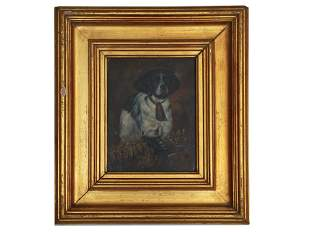 AN ANTIQUE OIL ON CANVAS PAINTING OF A DOG